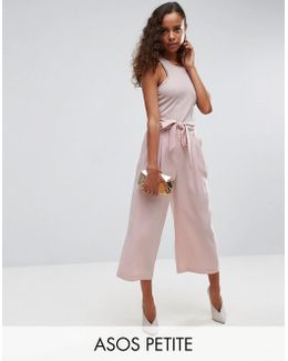 Tailored Culotte With Tie Waist In Crepe