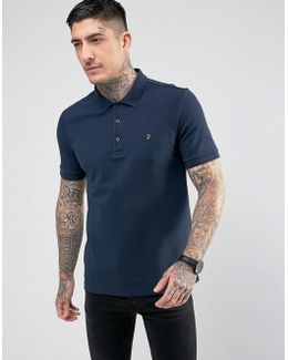 Blaney Pique Polo Slim Fit In Navy