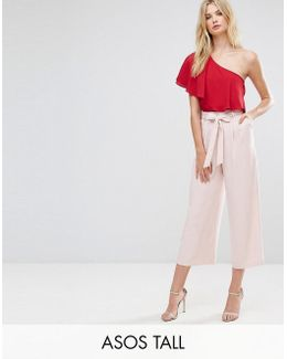 Tall Tailored Culotte With Tie Waist In Crepe
