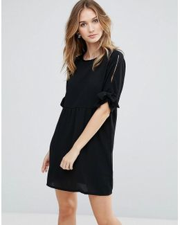 Oversized Smock Dress With Tie Sleeve