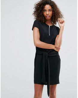 T-shirt Dress With Tie Waist And Ring Detail Zip