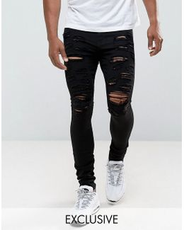 Super Skinny Jeans In Black With Distressing