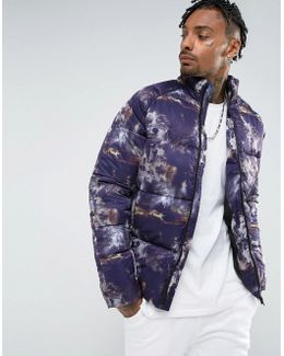 Puffer In All Over Print In Purple