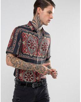 Regular Fit Viscose Bandana Print Shirt