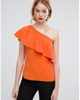 Crepe Ruffle One Shoulder Top