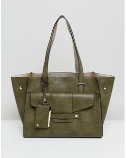 Winged Structured Tote Bag