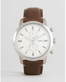 Fs5350 Townsman Chronograph Leather Watch In Brown