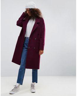 Oversized Coat With Tab Back