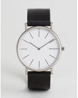 Skw6419 Signatur Slim Leather Watch In Black