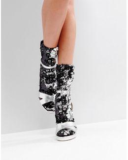 Silver Sequin Sock
