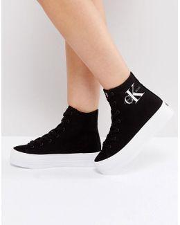 Jeans Zabrina Black Canvas Hi Top Sneakers