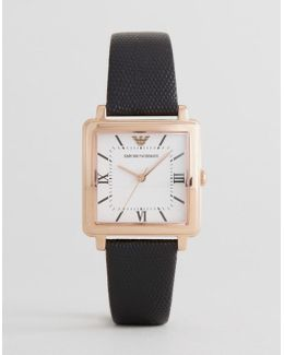 Ar11067 Square Leather Watch In Black