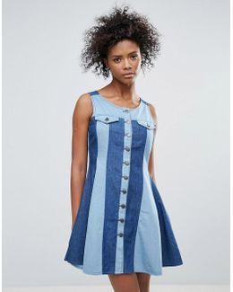 Maggie Button Through Dress In Two Tone Denim