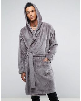 Fleece Hooded Dressing Gown