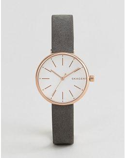 Skw2644 Signatur Leather Watch In Black
