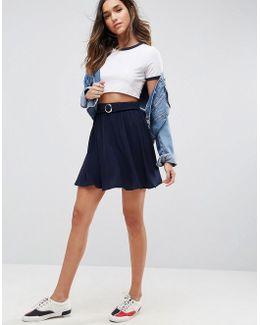 Skater Mini Skirt With Circle Belt