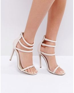 Nude Four Strap Barely There Heels