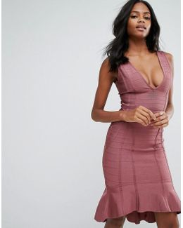 Purple Bandage Plunge Frill Hem Midi Dress