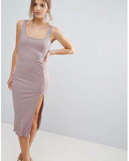 Purple Ribbed Split Scoop Neck Midi Dress