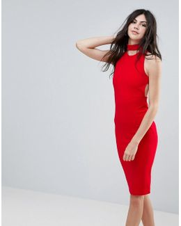 Red Choker Neck Cross Back Midi Dress