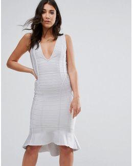 Grey Bandage Plunge Frill Hem Midi Dress