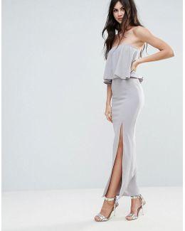 Grey Crepe Frill Side Split Maxi Dress
