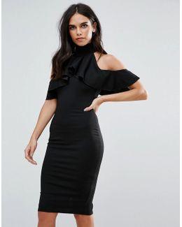 Black High Neck Frill Cold Shoulder Dress