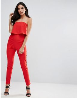 Bandeau Double Layer Jumpsuit Red