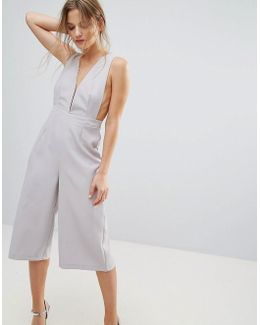 Jumpsuit In Crepe With Open Sides