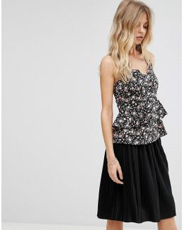 Flower Ditsy Print Strap Top
