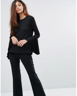 Long Flute Sleeve Top