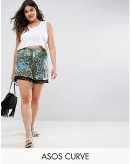 Floral Paisley Print Tassle Hem Shorts