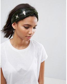 Embroidered Velvet Headband