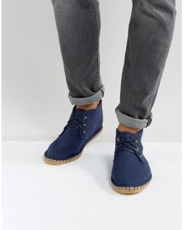 Chukka Espadrilles In Navy Canvas