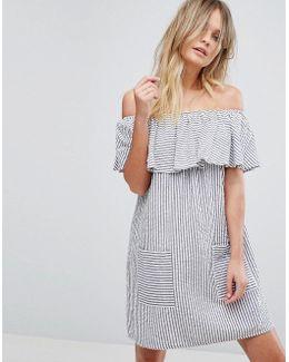 Fine Stripe Bardot Sundress
