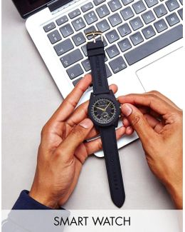 Connected Axt1004 Leather Hybrid Smart Watch In Black
