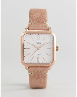 Es4254 Micah Square Leather Watch In Nude