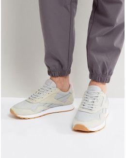 Classic Leather Nylon Hs Sneakers In Grey Bd6004