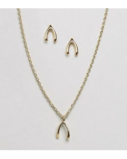 Wish Bone Gifting Necklace And Earring Set