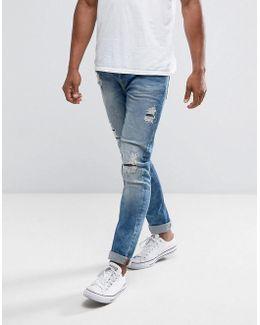 Slim Fit Jeans With Rip Repair Bleach Wash