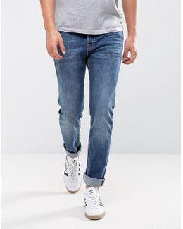Slim Fit Jeans In Washed Blue Denim