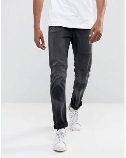 Slim Fit Jeans In Distressed Knee Patch Denim