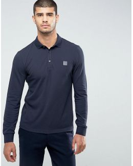 By Hugo Boss Paulyn Slim Fit Long Sleeve Polo Shirt In Navy