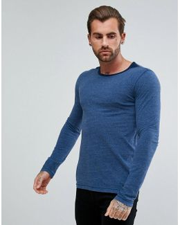 By Hugo Boss Typo Long Sleeve T-shirt In Navy