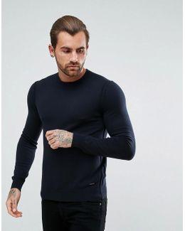 By Hugo Boss Albonon Merino Knitted Sweater In Navy
