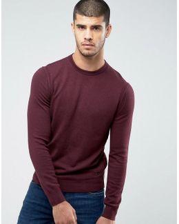 By Hugo Boss Albonon Merino Knitted Sweater In Burgundy
