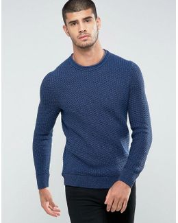 By Hugo Boss Kindpaul Textured Knitted Sweater In Blue