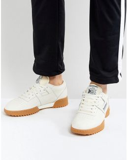 Workout Clean Trainers With Gum Sole In White Bs8929