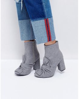 Grey Knotted Bow Heeled Ankle Boots