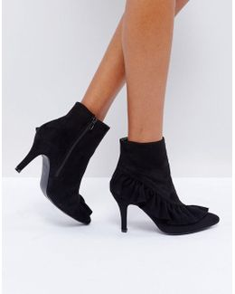 Black Ruffle Heeled Ankle Boots